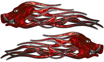 New School Crazy Hog Car Truck ATV or Motorcycle Flame Stickers / Decal Kit in Red Inferno