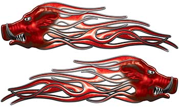 New School Crazy Hog Car Truck ATV or Motorcycle Flame Stickers / Decal Kit in Red