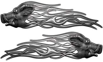 New School Crazy Hog Car Truck ATV or Motorcycle Flame Stickers / Decal Kit in Silver