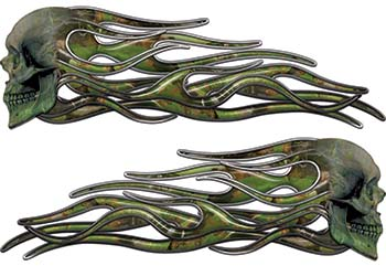 New School Street Rod Classic Car Style Evil Shull Flame Stickers / Decal Kit in Camouflage