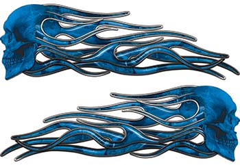 New School Street Rod Classic Car Style Evil Shull Flame Stickers / Decal Kit in Blue Camouflage
