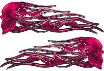 New School Street Rod Classic Car Style Evil Shull Flame Stickers / Decal Kit in Pink Camouflage