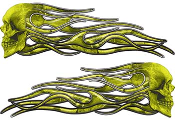 New School Street Rod Classic Car Style Evil Shull Flame Stickers / Decal Kit in Yellow Camouflage
