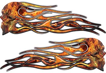 New School Street Rod Classic Car Style Evil Shull Flame Stickers / Decal Kit in Inferno