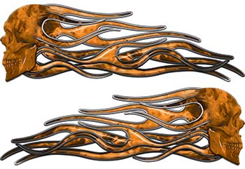 New School Street Rod Classic Car Style Evil Shull Flame Stickers / Decal Kit in Orange Inferno