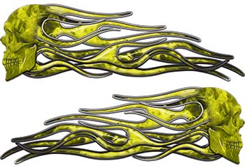 New School Street Rod Classic Car Style Evil Shull Flame Stickers / Decal Kit in Yellow Inferno