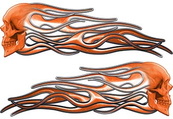 New School Street Rod Classic Car Style Evil Shull Flame Stickers / Decal Kit in Orange