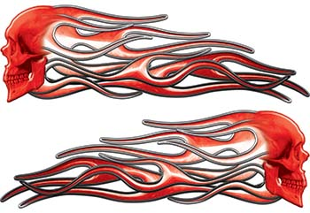New School Street Rod Classic Car Style Evil Shull Flame Stickers / Decal Kit in Red