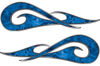 New School Tribal Car Truck ATV or Motorcycle Flame Stickers / Decal Kit in Blue Camouflage