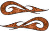 New School Tribal Car Truck ATV or Motorcycle Flame Stickers / Decal Kit in Orange Camouflage
