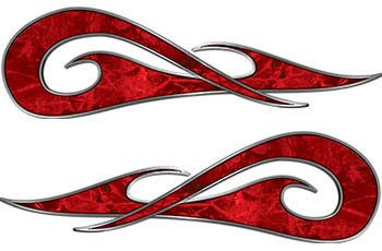 New School Tribal Car Truck ATV or Motorcycle Flame Stickers / Decal Kit in Red Camouflage