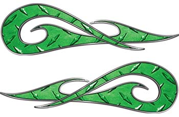 New School Tribal Car Truck ATV or Motorcycle Flame Stickers / Decal Kit in Green Diamond Plate
