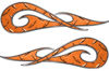 New School Tribal Car Truck ATV or Motorcycle Flame Stickers / Decal Kit in Orange Diamond Plate