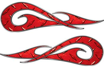 New School Tribal Car Truck ATV or Motorcycle Flame Stickers / Decal Kit in Red Diamond Plate