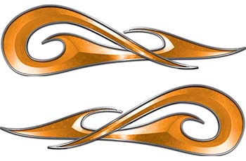 New School Tribal Car Truck ATV or Motorcycle Flame Stickers / Decal Kit in Orange