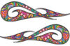 New School Tribal Car Truck ATV or Motorcycle Flame Stickers / Decal Kit with Psychedelic Art