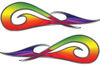 New School Tribal Car Truck ATV or Motorcycle Flame Stickers / Decal Kit in Rainbow Colors