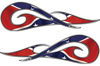 New School Tribal Car Truck ATV or Motorcycle Flame Stickers / Decal Kit in Confederate Rebel Flag