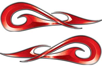 New School Tribal Car Truck ATV or Motorcycle Flame Stickers / Decal Kit in Red