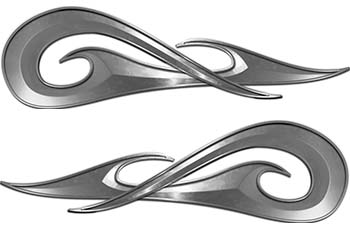 New School Tribal Car Truck ATV or Motorcycle Flame Stickers / Decal Kit in Silver