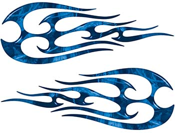 New School Tribal Flame Sticker / Decal Kit in Blue Camouflage
