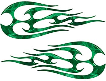 New School Tribal Flame Sticker / Decal Kit in Green Camouflage