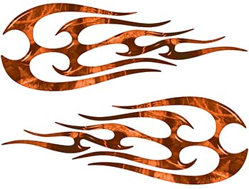 New School Tribal Flame Sticker / Decal Kit in Orange Camouflage