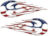 New School Tribal Flame Sticker / Decal Kit with American Flag