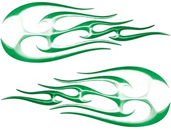 New School Tribal Flame Sticker / Decal Kit in Green