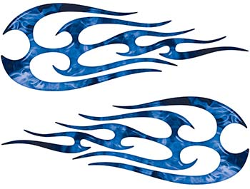 New School Tribal Flame Sticker / Decal Kit in Blue Inferno