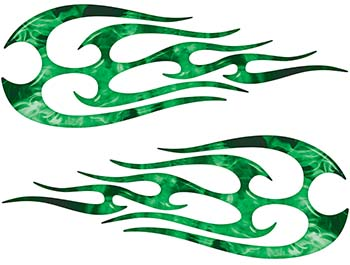 New School Tribal Flame Sticker / Decal Kit in Green Inferno