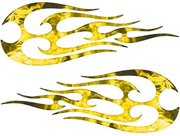 New School Tribal Flame Sticker / Decal Kit in Yellow Inferno