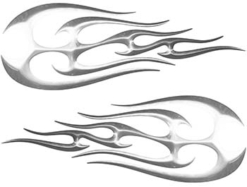 New School Tribal Flame Sticker / Decal Kit in Silver
