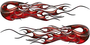 Old School Hot Rod Classic Car Style Twin Flame Graphics in Red Inferno