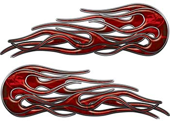 Old School Street Rod Classic Car Style Twin Flame Graphics in Red Camouflage