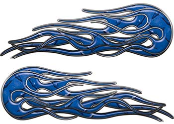 Old School Street Rod Classic Car Style Twin Flame Graphics in Blue Diamond Plate