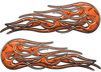 Old School Street Rod Classic Car Style Twin Flame Graphics in Orange Diamond Plate