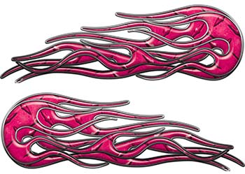 Old School Street Rod Classic Car Style Twin Flame Graphics in Pink Diamond Plate