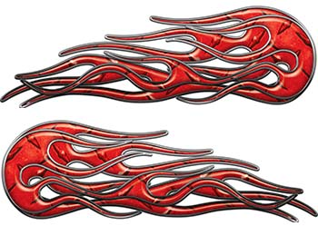 Old School Street Rod Classic Car Style Twin Flame Graphics in Red Diamond Plate
