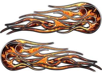 Old School Street Rod Classic Car Style Twin Flame Graphics in Inferno