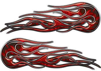 Old School Street Rod Classic Car Style Twin Flame Graphics in Red Inferno
