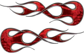 Old School Traditional Flame Graphics in Red Camouflage