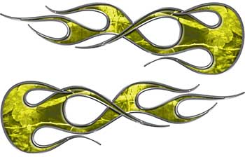 Old School Traditional Flame Graphics in Yellow Camouflage