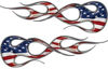 Old School Traditional Flame Graphics with American Flag