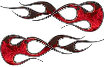 Old School Traditional Flame Graphics in Red Inferno