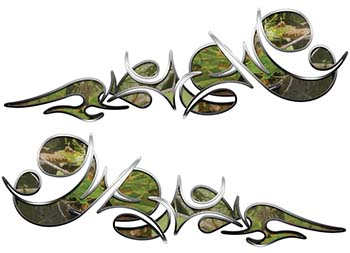 Reversed Tribal Flame Decal Kit in Camouflage
