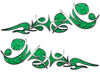 Reversed Tribal Flame Decal Kit in Green Diamond Plate