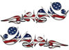 Reversed Tribal Flame Decal Kit with American Flag