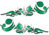 Reversed Tribal Flame Decal Kit in Green