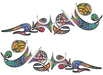 Reversed Tribal Flame Decal Kit with Psychedelic Art